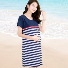 New Ladies Stripe Pregnant Dresses Maternity Nursing Skirt for Pregnant Women Breastfeeding Women's Clothing Mother Home Clothes