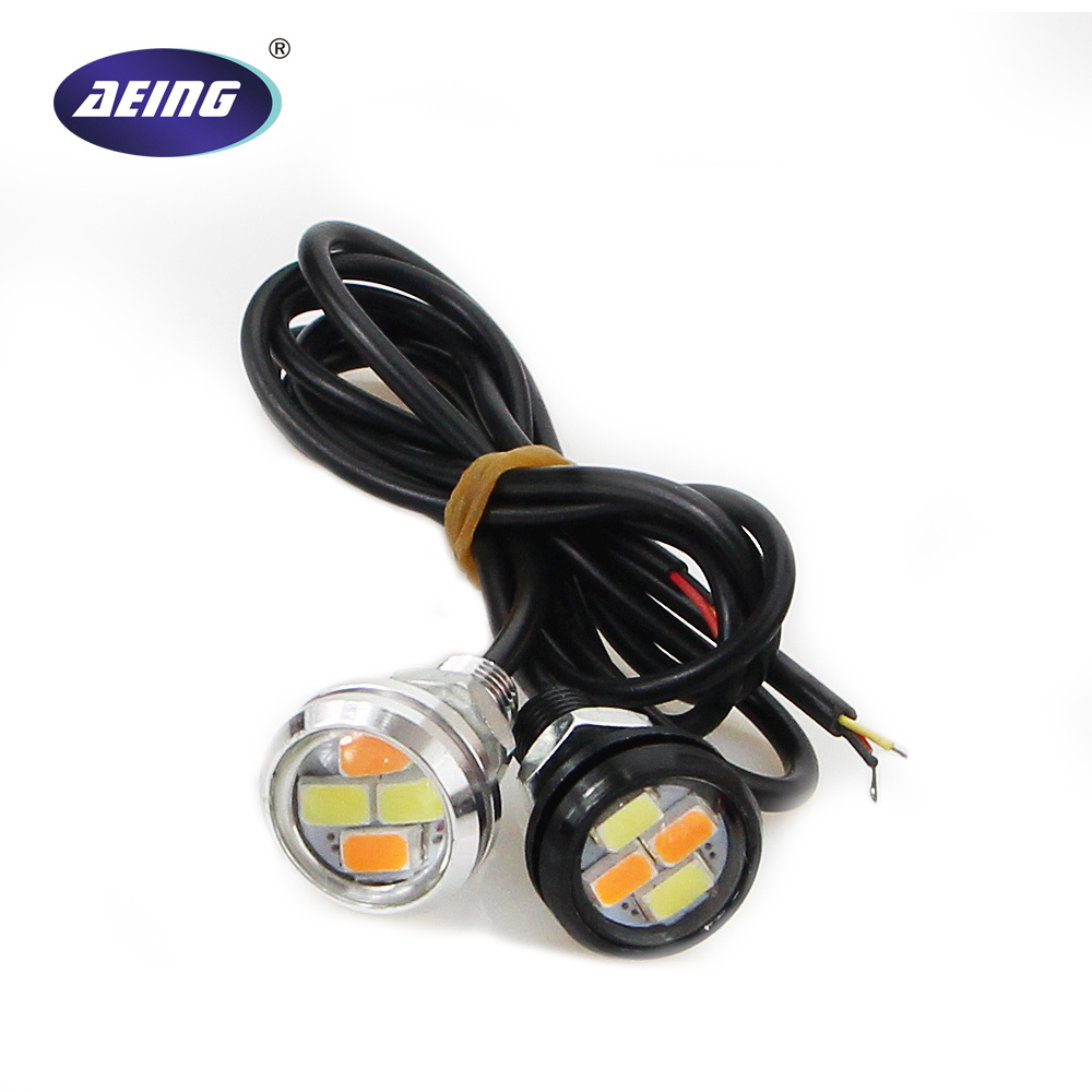 AEING 1 piece 5630 4-SMD 23 MM warna Ganda Xenon putih Eagle Eye Lampu LED Daytime Running Light DRL dengan Kuning Turn Signal