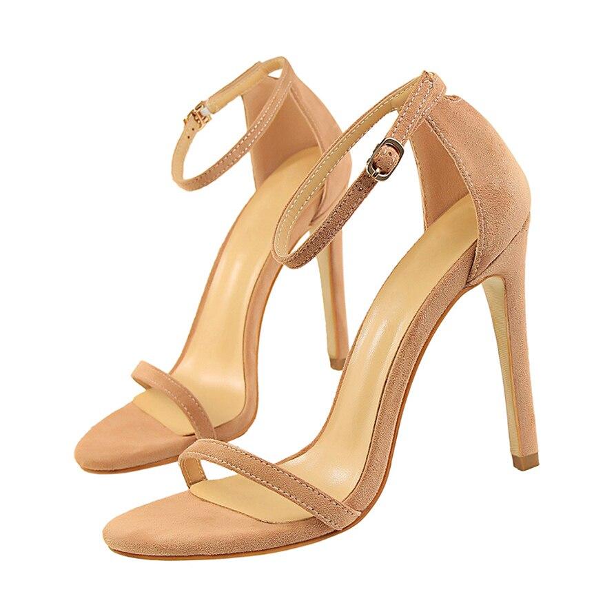 HTB1K4W0nhuTBuNkHFNRq6A9qpXak 2019 Women Size 40 Flock Extreme 11cm High Heels Fetish Sandals Female Gladiator Cheap Strap Shoes Lady Nude Valentine Red Pumps