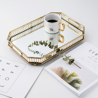 Glass storage tray Nordic style wrought iron gold plated mirror bottom tray light luxury plate decoration fruit plate