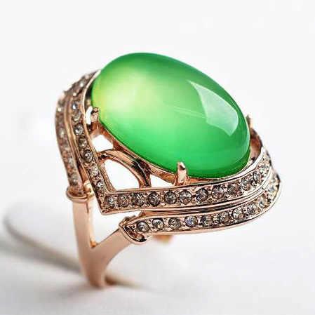 ย้อนยุคหรูหราหินธรรมชาติบิ๊กโอปอลสีเขียวหินริสโซเพรสแหวนด้วยคริสตัลออสเตรียผู้หญิงพรรคเครื่องประดับ