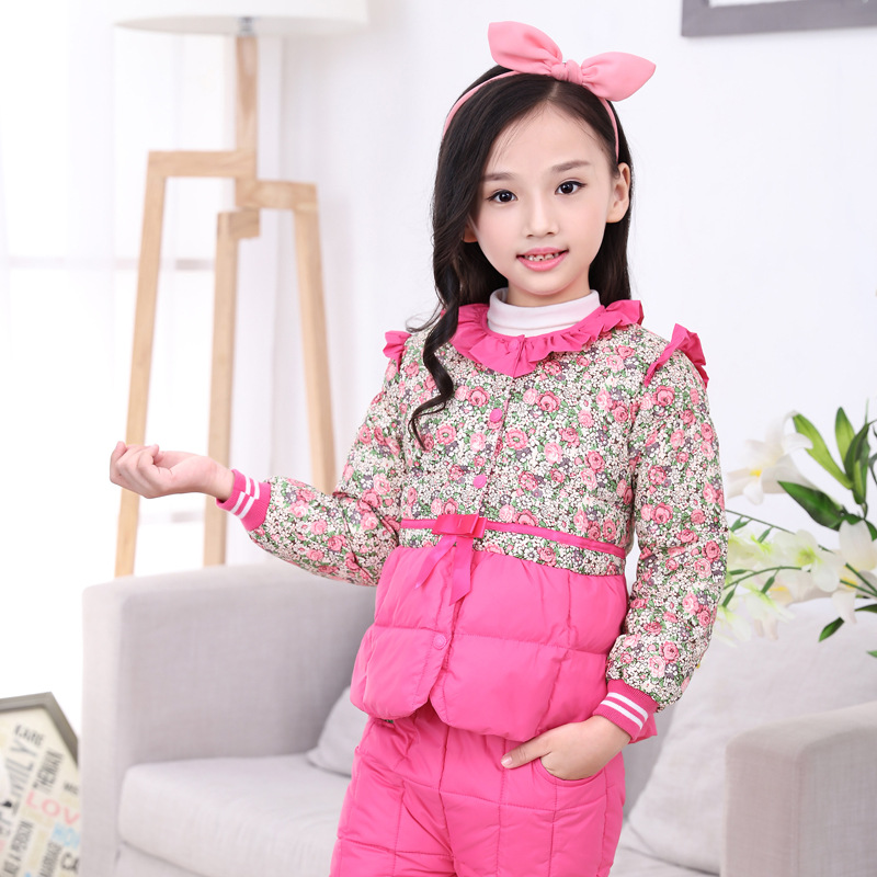 Children's Down Jacket Winter Girls Down Liner Baby Down Pants Two Sets A Lively Girl Dressed Down Jacket  In Park Happy To Play lole брюки ssl0009 lively pants 35 in xs black