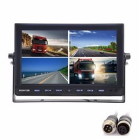 4CH 4PIN DC12V 24V 10 Inch 4 Split Quad LCD Screen Display Color Rear View CCTV