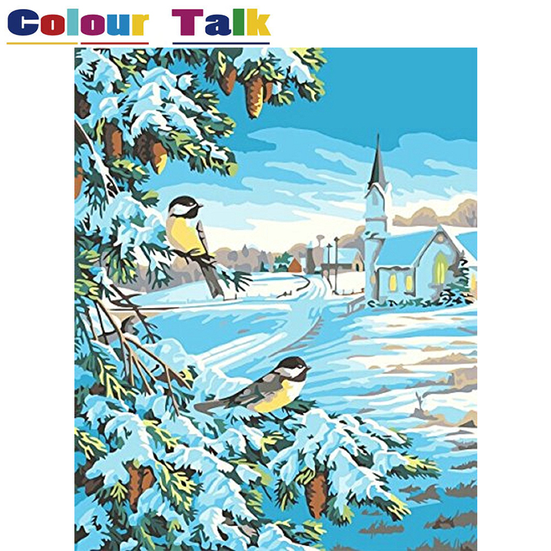 Canvas Painting by Numbers Wall Art Winter Oil Paintings ...