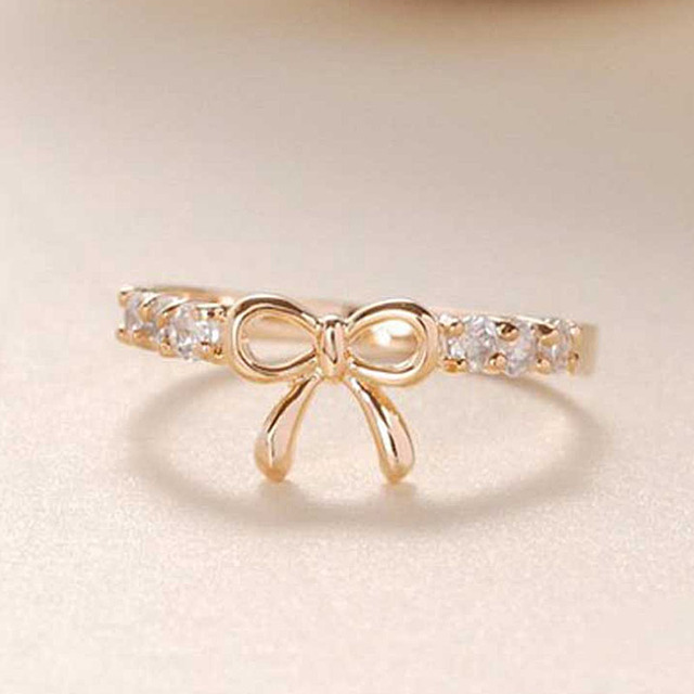 Popular Korean Jewelry Simple World Of Warcraft Crystal Bow Ring Bow Tie Beautif