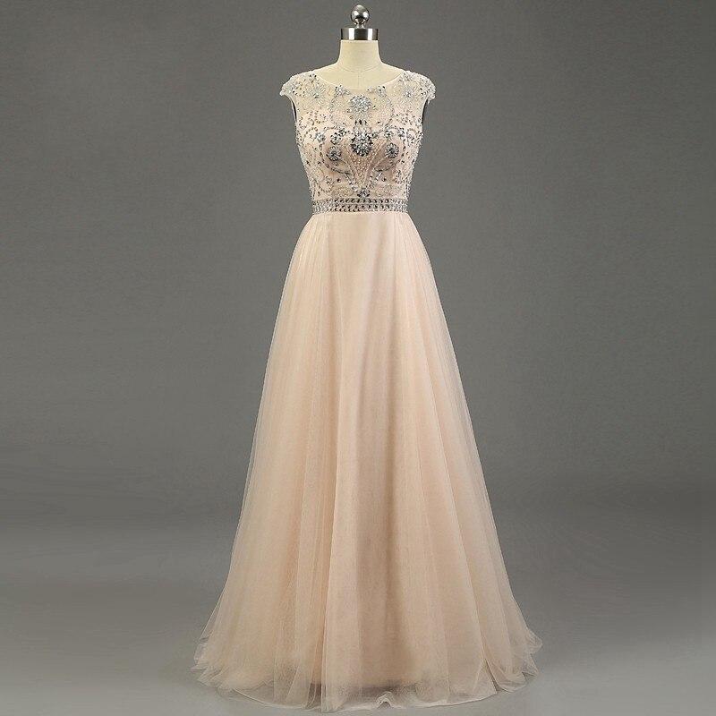 Nouveauté Scoop sans manches longueur de plancher en cristal perlé doux Tulle robes de soirée longue Tulle robes de bal