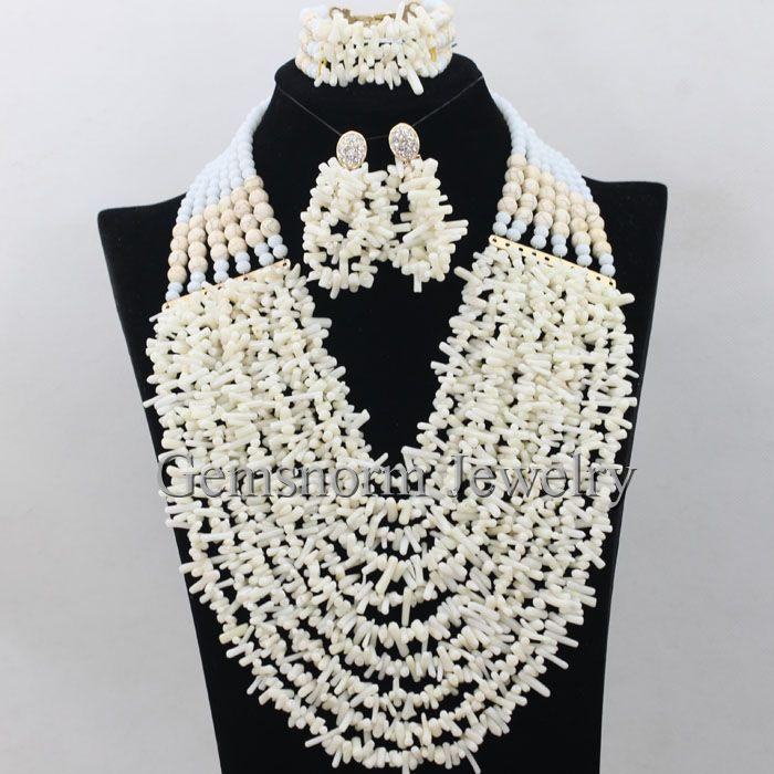 White Nigerian Coral Beads Bridal Jewelry Set African Wedding ...