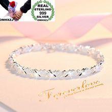 OMHXZJ Wholesale European Fashion Woman Girl Party Wedding Gift Shiny Silver OX 999 Sterling Bracelet BA77