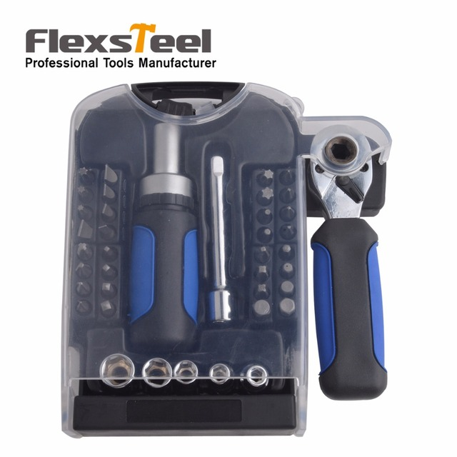 """40PCS 1/4"""" Drive Mini Ratcheting Screwdriver Set With 31 CR-V Bits 5 Sockets 1 Extension bar 1pc 1/4"""" Ratchet Wrench 1pc Adapter"""