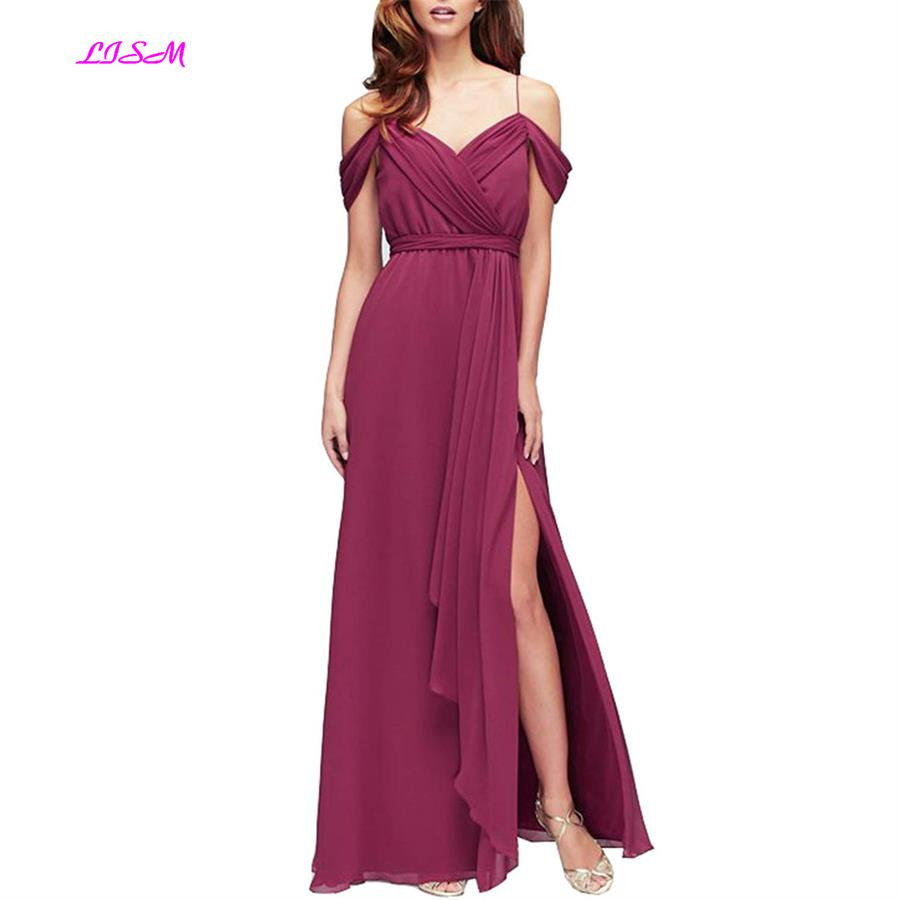 Off-shoulder Ruffles Side Split Chiffon   Bridesmaid     Dress   Empire Sash Party   Dresses   Long   Dress   for Wedding Party   dress   free ship