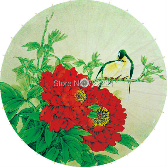 Dia 84cm Chinese craft umbrella red peony green leaves with bird classical handmade dance decorative collect oilpaper umbrella dia 84cm chinese handmade red plum blossom oil paper umbrella ancient waterproof sunshade parasol decoration gift dance umbrella