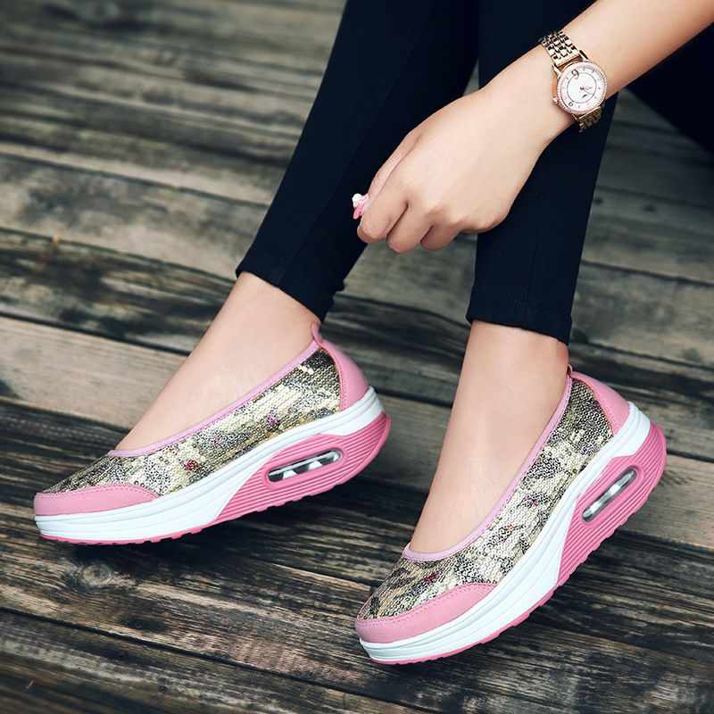 2018 New Women 39 s Shoes Wedges Platform Slip on Ladies Pumps Plus Size Casual Loafers Woman Bling Elegand Sexy Increased Internal in Women 39 s Pumps from Shoes