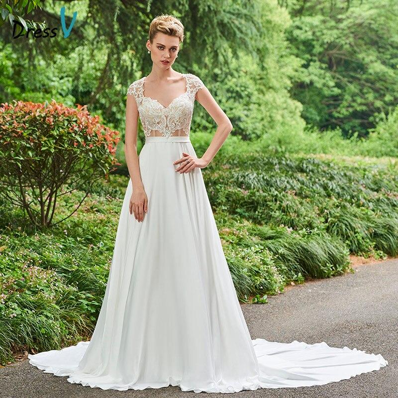 A Line Wedding Dresses With Cap Sleeves: Dressv V Neck A Line Wedding Dress Cap Sleeves Chapel