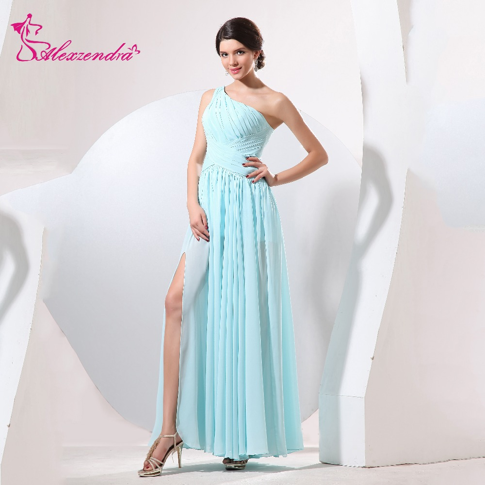 Alexzendra Light Blue Pleats One Shoulder Simple A Line Long   Prom     Dresses   Customize Special Party Gowns