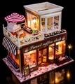 Dulce cafetería francia estilo casa de muñeca de DIY 3D miniatura + madera hechos a mano kits modelo de construcción de juguete hogar y decoración tienda BJD