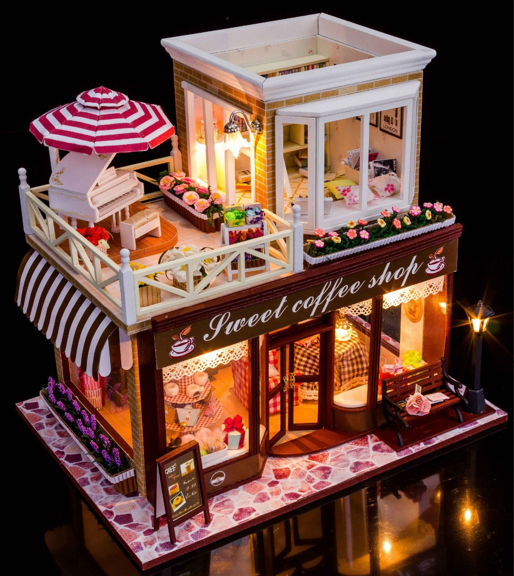 buy sweet coffee shop france style diy doll house 3d miniature light wood. Black Bedroom Furniture Sets. Home Design Ideas