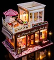 Sweet Coffee Shop France Style DIY Doll house 3D Miniature Light+Wood Handmade kits Building model Toy Home&Store decoration BJD