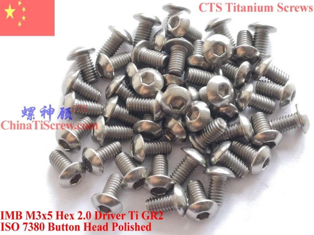 Titanium screw M3X5 ISO 7380 Button Head  Hex 2.0 Driver Ti GR2 polished 50 pcs lodestar professional ceramic slot screw driver 0 4 x 0 9mm