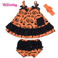 Baby Halloween Costumes For Girls Swing Top Pumpkin Dress + Bloomer + Headband Infant  Clothing 3pcs Sets Free Shipping
