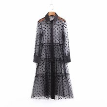 Sexy Perspective Polka Dot Mesh Dress Women Long Sleeve Midi Shirt Dresses Patchwork Transparent