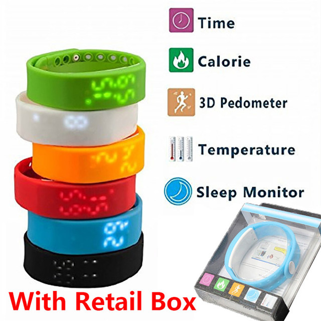 New USB W2 Smartband Bracelet Time Display Smart Watch with Calorie 3D Pedometer Temperature Sleep Monitor Waterproof Wristband