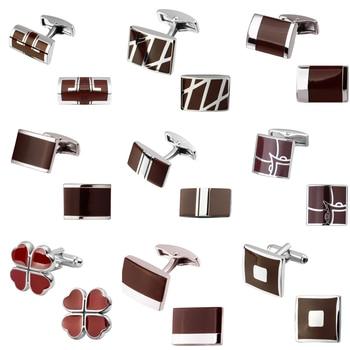 DY są czerwone lakierowane emalia osiemnaście projekt marki czerwona koniczyna sześciokąt srebrzysty pasek spinki do mankietów męskie biżuteria mankiet do koszuli spinki do mankietów