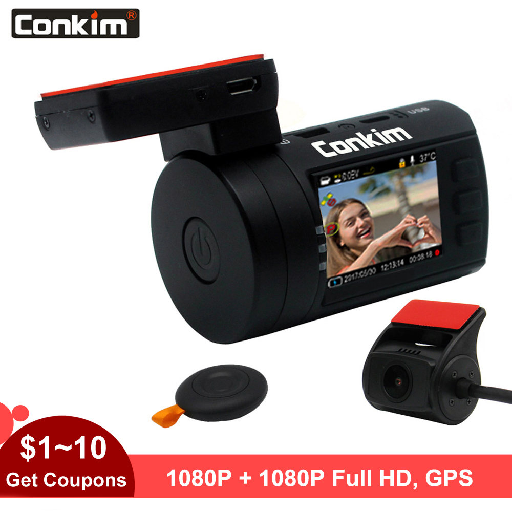 Conkim DVR With 2 Cameras Novatek 96663 Car Video Recorder Front 1080P Full HD Rear Dash