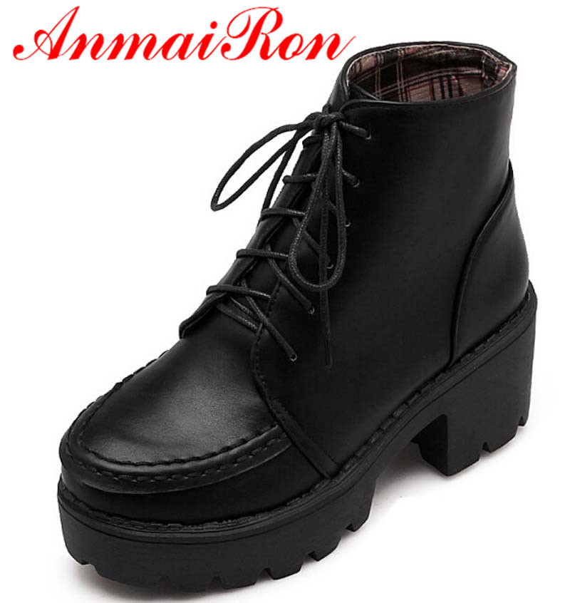ANMAIRON New Fashion Black Punk Rock Lace Up Platform Rivet Ankle Boots Low High Heels Platform Women Round Toe Shoes wild mammals of new england