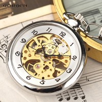 Hot Sale Silver Hand Winding Full Steel Pocket Watches Fashion Unique Skeleton Transparent Mechanical Pocket Watch