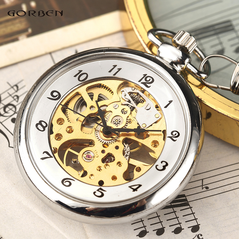 Hot Sale Silver Hand Winding Full Steel Pocket Watches Fashion Unique Skeleton Transparent Mechanical Pocket Watch Fob Chain