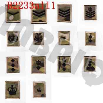 Parche bordado, diseño negro, Ejército Británico, Multicam, MTP Rank