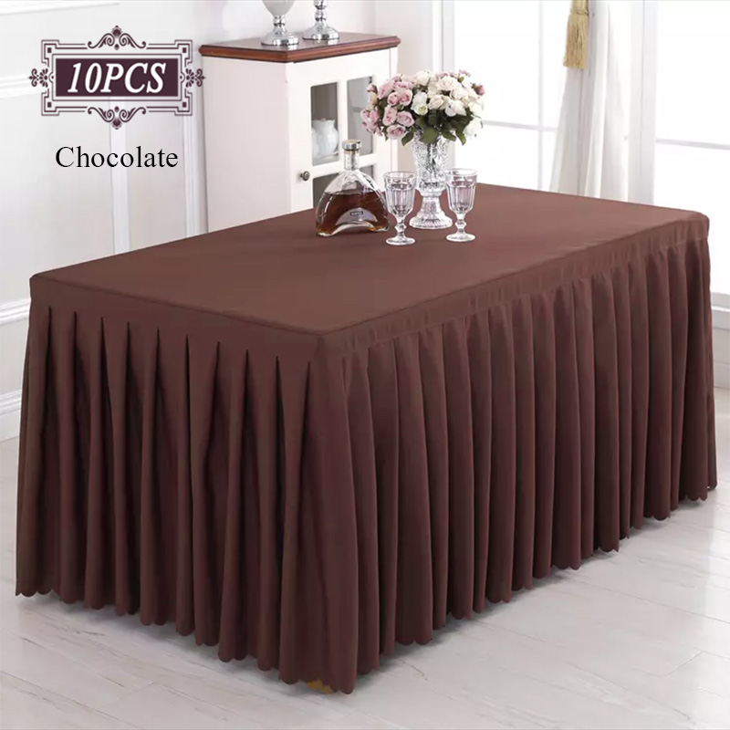"Burgundy 17/"" POLYESTER PLEATED TABLE SKIRT Tradeshow Wedding Supplies SALE"