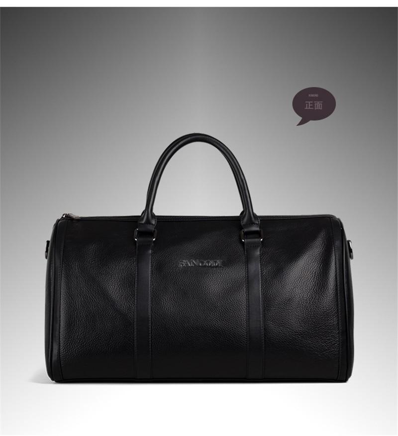 Bagaj ve Çantalar'ten Seyahat Çantaları'de Yeni 2016 Moda Hakiki Deri erkek seyahat çantası bagajı Çantası gerçek deri Erkek silindir çanta Haftasonu Çanta Büyük Tote Gecede Siyah'da  Grup 3