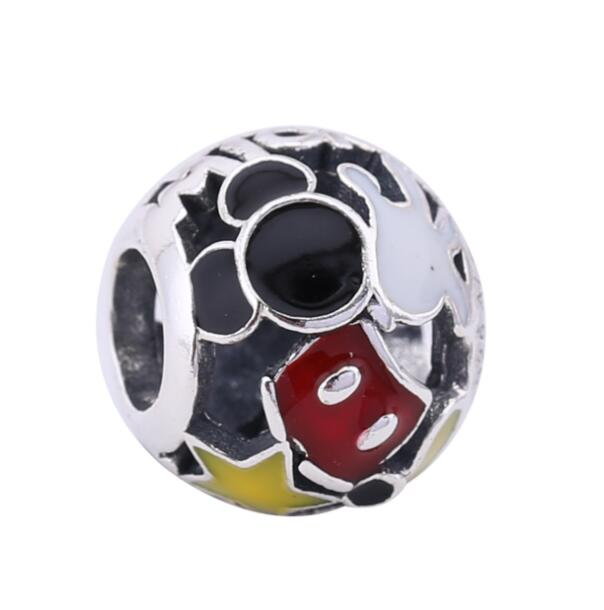 Authentic 925 Sterling Silver Enamel Black Red Mickey Love Beads Charm Fit Pandora Bracelets & Necklace Women DIY Jewelry