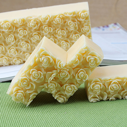 Nicole Silicone Soap Mold Embossed Rose Flower Decoration Handmade Loaf Soap Making Mould