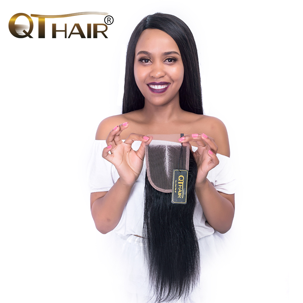 QThair Peruvian Straight Closure with baby font b hair b font Middle Part Remy font b