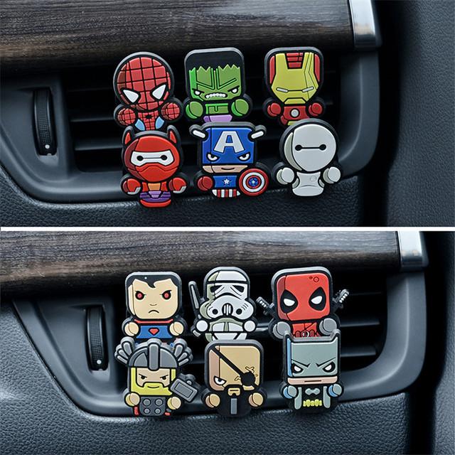 1PC Cartoon Air Freshener Avengers Star War Car outlet perfume auto Air Freshener fragrances Conditioning Vent Clip Cute Cartoon