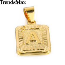 Trendsmax High Quality Yellow Gold Filled Square Pendant w Capital Letter Fashion Design Mens Womens Wholesale Jewelry GP36