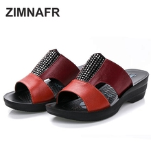 2015 Hot sale the elderly slippers wedges summer genuine leather slippers women's flat shoes drag comfortable slip-resistant