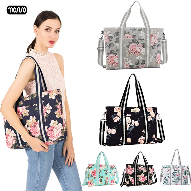 MOSISO Large Capacity Laptop Bags for Women 15 6 17 3 inch Travel Suitcase Notebook Shoulder Bag Computer Handbag Shopping Duffe in Laptop Bags Cases from Computer Office