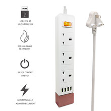 цена на UK Standard 3 Outlets 4 USB Charging Port Extension Socket Electrical Power Strip USB With Switch Fused 2500W 10A