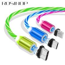 كابل مغناطيسي 3 في 1 للشحن السريع من روسينوب 2.4A لهواتف آيفون USB متوهجة من النوع C كابل شاحن مغناطيسي لهواتف شاومي ميكرو USB وأندرويد