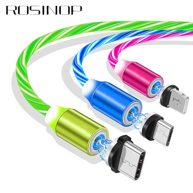 Rosinop 2.4A szybkie ładowanie 3 w 1 kabel magnetyczny dla iphone świecący rodzaj USB C magnetyczna ładowarka kabel do xiaomi Micro USB Android