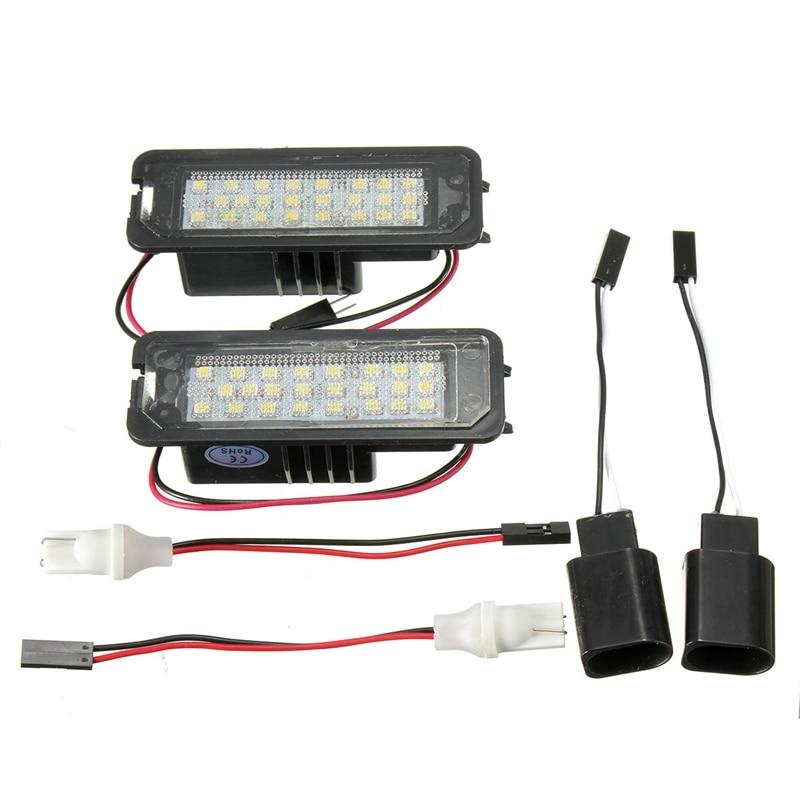 2Pcs LED License Plate Light 6000K 24leds Number Plate Light For VW Passat Golf GTI MK5 MK6 For Volkswagen/Scirocco/Phaeton