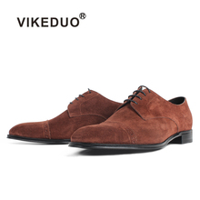 VIKEDUO New Suede Mens Dress Shoes Brown Leather Casual Wedding Office Footwear Handmade Derby Zapatos de Hombre