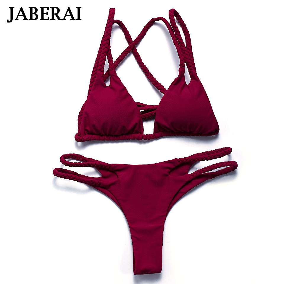 Jaberai Strappy Brazilian Bikini Set 2017 Swimwear Women Solid String Swimsuit Micro Beachwear Padded Thong Bathing Suit QE013 pink solid color swimwear high neck halter bathing suit brazilian style beachwear xs xl plus size swimsuit strappy bikini set