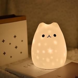 Image 1 - جديد LED ليلة ضوء النجوم العارض القط الدب USB قابلة للشحن سيليكون لينة الكرتون الطفل الحضانة مصباح للأطفال هدية