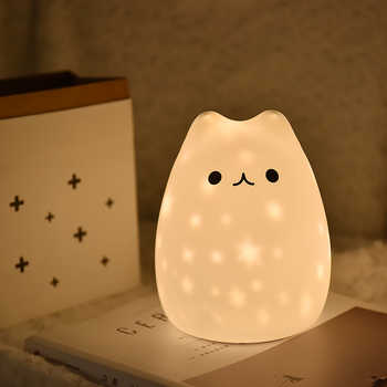 New LED Night Light Stars Projector Cat Bear USB rechargeable Silicone Soft Cartoon Baby child Nursery Lamp for Children Gift - DISCOUNT ITEM  35 OFF Lights & Lighting