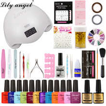Lily Angel Nail Kit Dryer 36W/48W UV LED Lamp&UV Gel Varnish Polish Manicure Tool 12 Colors gel nail kits with lamp