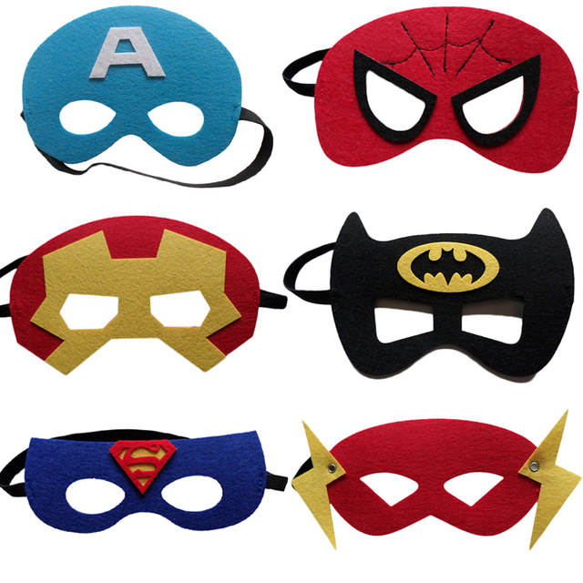 Us 7 88 5 Off 6pcs Set Super Hero Mask Kids Happy Birthday Children S Day Christmas Gift Super Man The Flash Spiderman Cosplay Party Supplies In